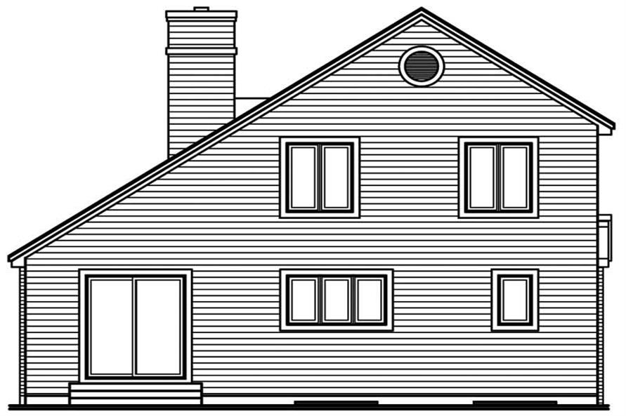 Home Plan Rear Elevation of this 3-Bedroom,1609 Sq Ft Plan -126-1344