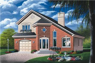 3-Bedroom, 1609 Sq Ft Contemporary House Plan - 126-1344 - Front Exterior