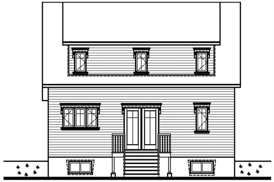 Home Plan Rear Elevation of this 3-Bedroom,1458 Sq Ft Plan -126-1348
