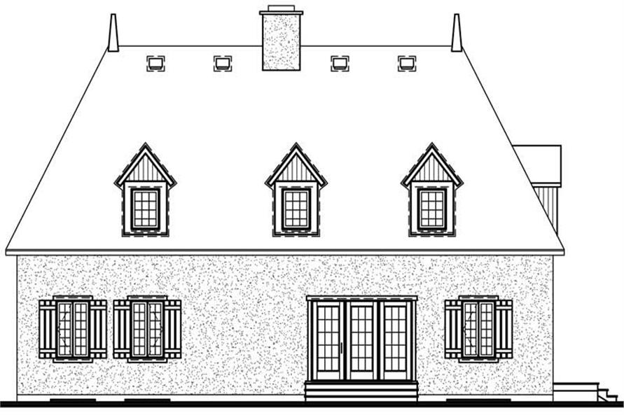 Home Plan Rear Elevation of this 4-Bedroom,2496 Sq Ft Plan -126-1352