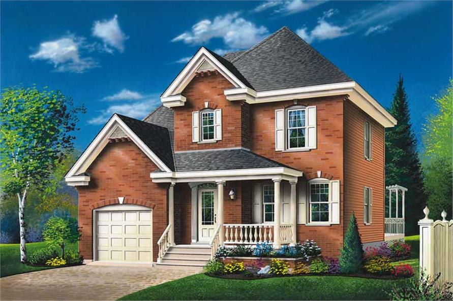 3-Bedroom, 1498 Sq Ft Traditional House Plan - 126-1353 - Front Exterior