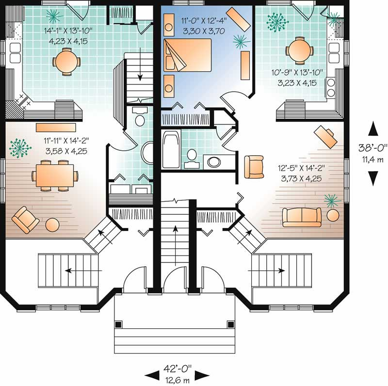 Multi unit house plans home design dd 3027 13046 for Multi unit home plans