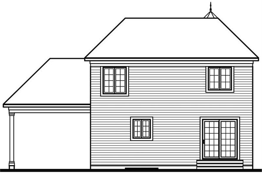 Home Plan Rear Elevation of this 3-Bedroom,1544 Sq Ft Plan -126-1360