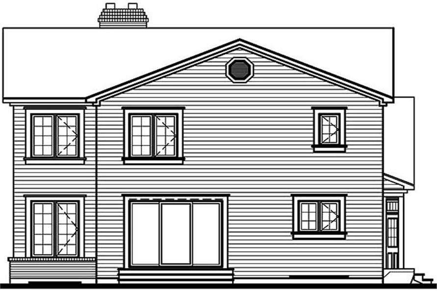 Home Plan Rear Elevation of this 3-Bedroom,1909 Sq Ft Plan -126-1361
