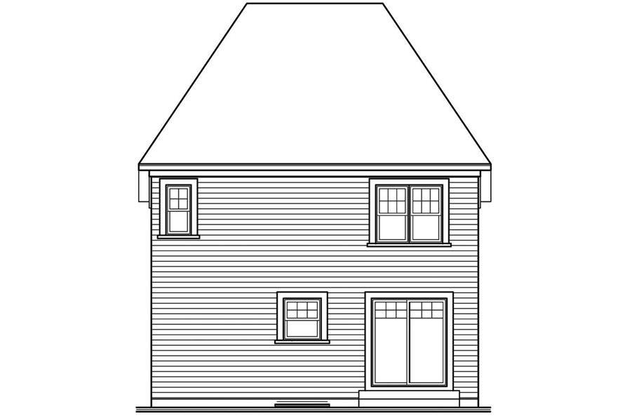 Home Plan Rear Elevation of this 3-Bedroom,1365 Sq Ft Plan -126-1363