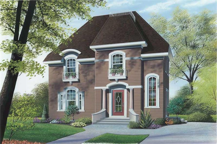 3-Bedroom, 1365 Sq Ft European Home Plan - 126-1363 - Main Exterior