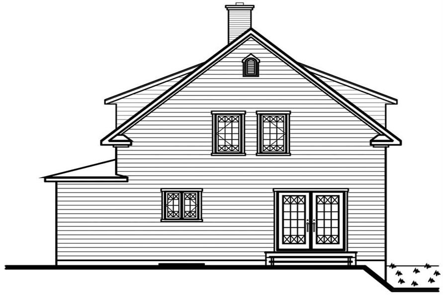 Home Plan Rear Elevation of this 3-Bedroom,1501 Sq Ft Plan -126-1367