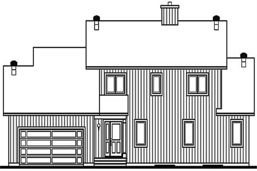 Home Plan Rear Elevation of this 3-Bedroom,2100 Sq Ft Plan -126-1369