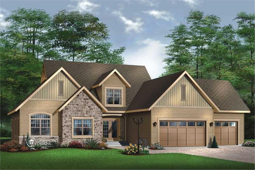 4-Bedroom, 3719 Sq Ft Contemporary House Plan - 126-1371 - Front Exterior