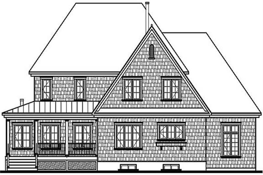 Home Plan Rear Elevation of this 3-Bedroom,3805 Sq Ft Plan -126-1372