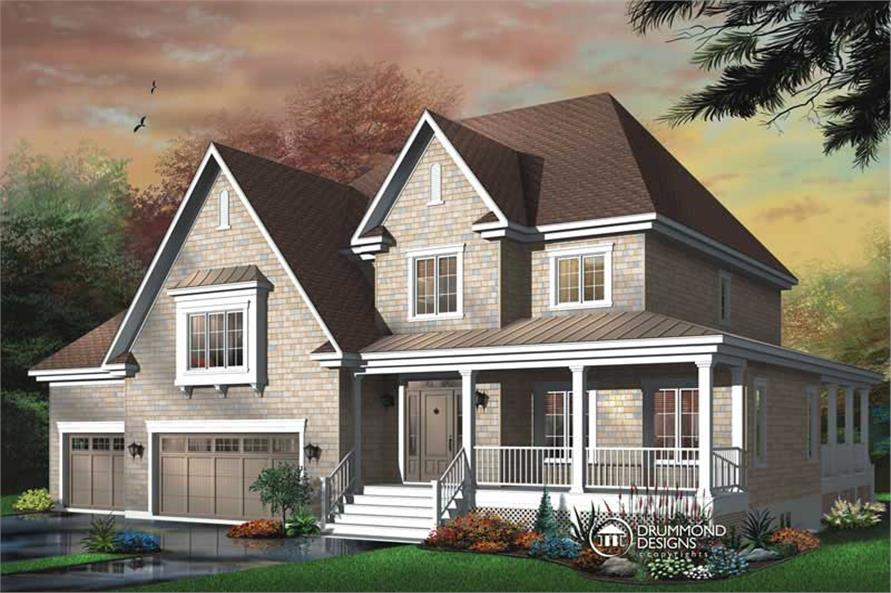 3-Bedroom, 3805 Sq Ft Contemporary Home Plan - 126-1372 - Main Exterior