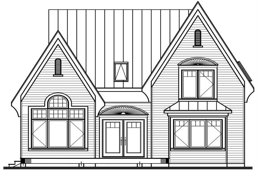 Home Plan Rear Elevation of this 3-Bedroom,1498 Sq Ft Plan -126-1375