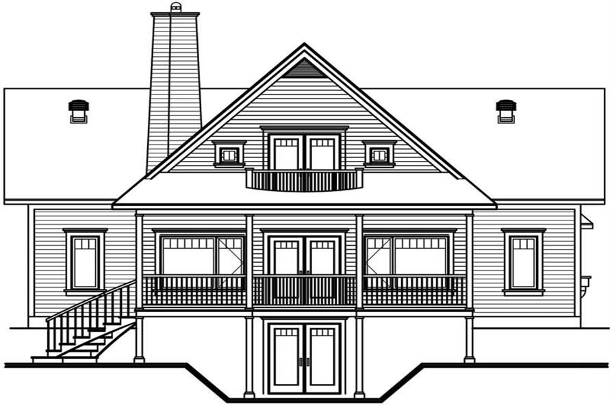Home Plan Rear Elevation of this 3-Bedroom,2393 Sq Ft Plan -126-1376