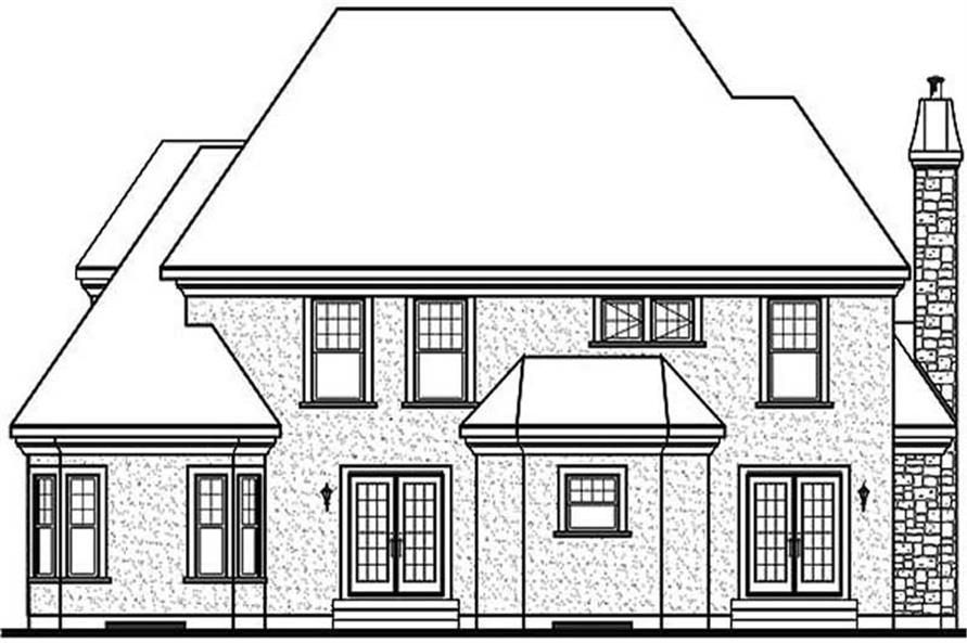 Home Plan Rear Elevation of this 4-Bedroom,2991 Sq Ft Plan -126-1378
