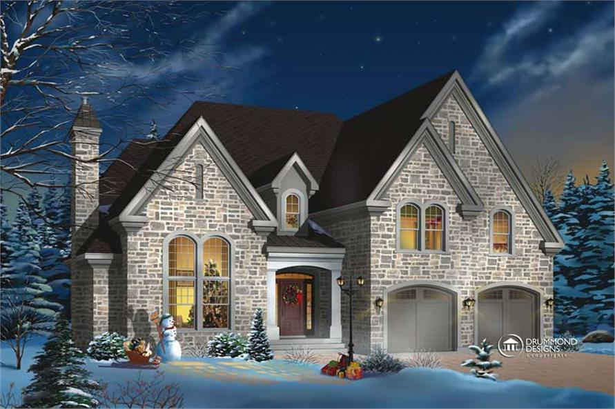 4-Bedroom, 2991 Sq Ft European Home Plan - 126-1378 - Main Exterior