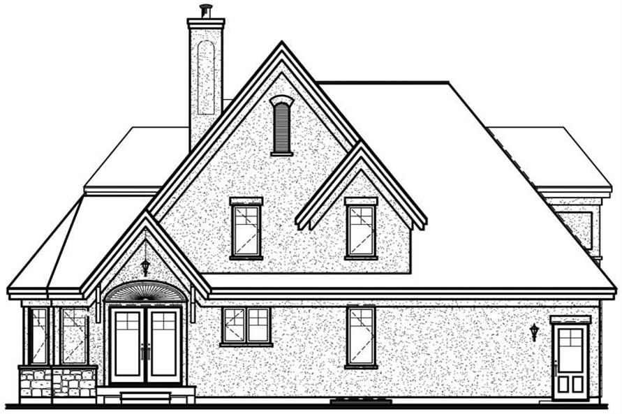 Home Plan Rear Elevation of this 3-Bedroom,1826 Sq Ft Plan -126-1385