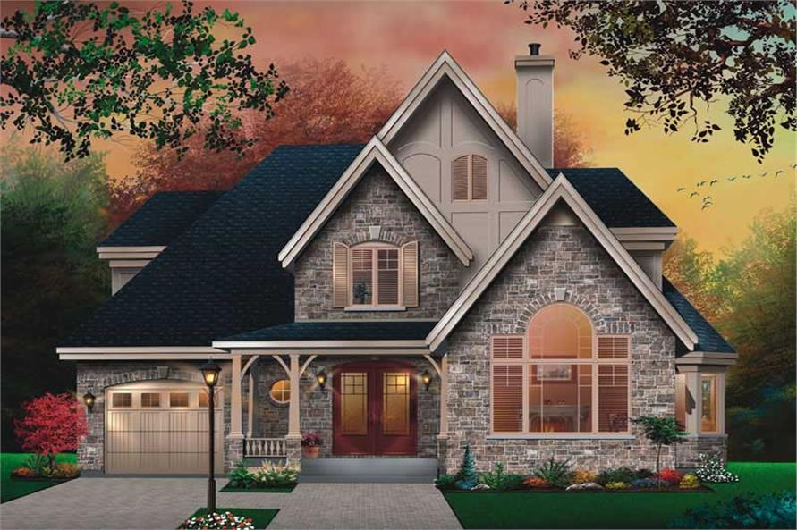 HOME PLAN FRONT ELEVATION of this 3-Bedroom,1826 Sq Ft Plan -1826