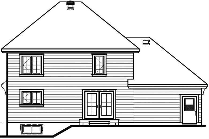 Home Plan Rear Elevation of this 3-Bedroom,1442 Sq Ft Plan -126-1389