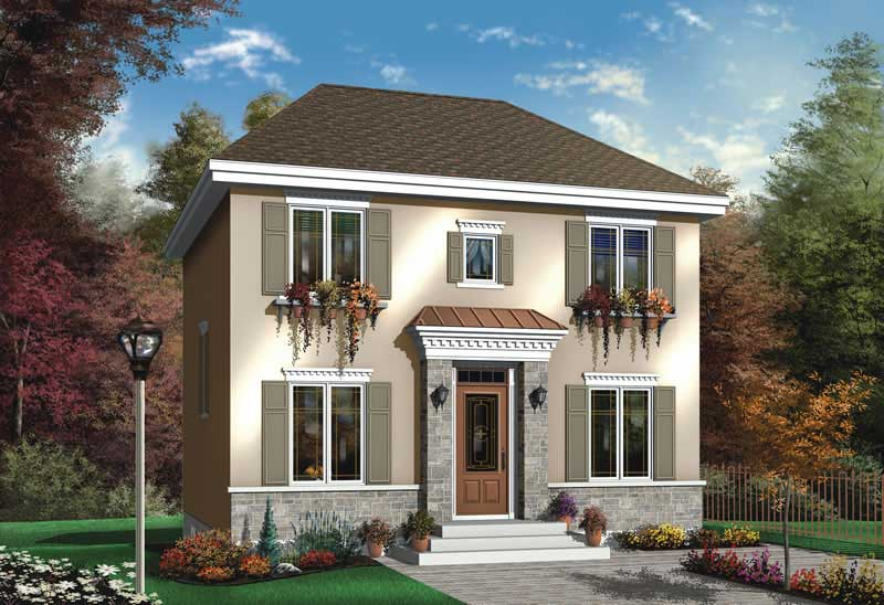 Traditional house plan 3 bedrms 2 baths 1365 sq ft for Classic home villa collection