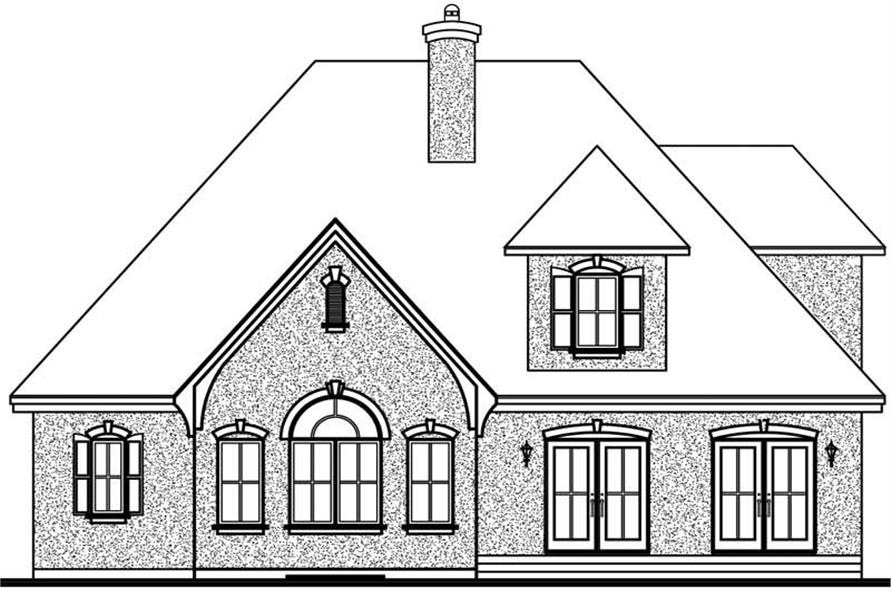 Home Plan Rear Elevation of this 3-Bedroom,2104 Sq Ft Plan -126-1397
