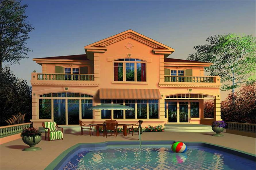 Home Plan Rear Elevation of this 4-Bedroom,2119 Sq Ft Plan -126-1402