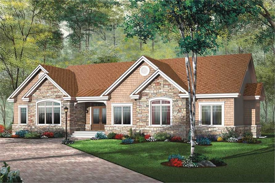 3-Bedroom, 1883 Sq Ft Ranch House Plan - 126-1406 - Front Exterior