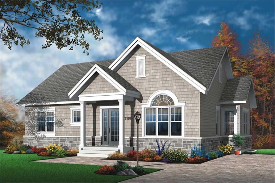 3-Bedroom, 1124 Sq Ft Ranch House Plan - 126-1407 - Front Exterior