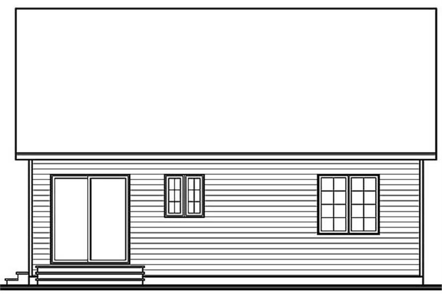 Home Plan Rear Elevation of this 2-Bedroom,958 Sq Ft Plan -126-1412
