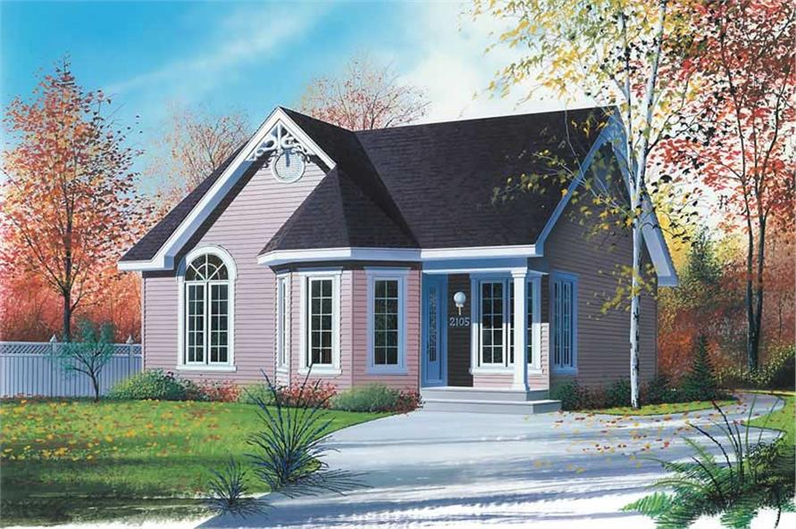 2-Bedroom, 958 Sq Ft Bungalow House Plan - 126-1412 - Front Exterior