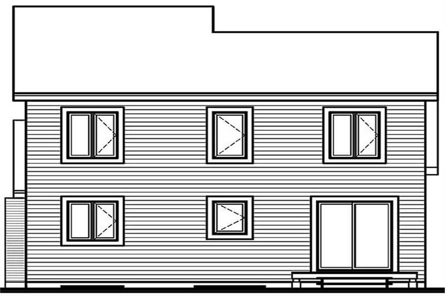 Home Plan Rear Elevation of this 3-Bedroom,1486 Sq Ft Plan -126-1413