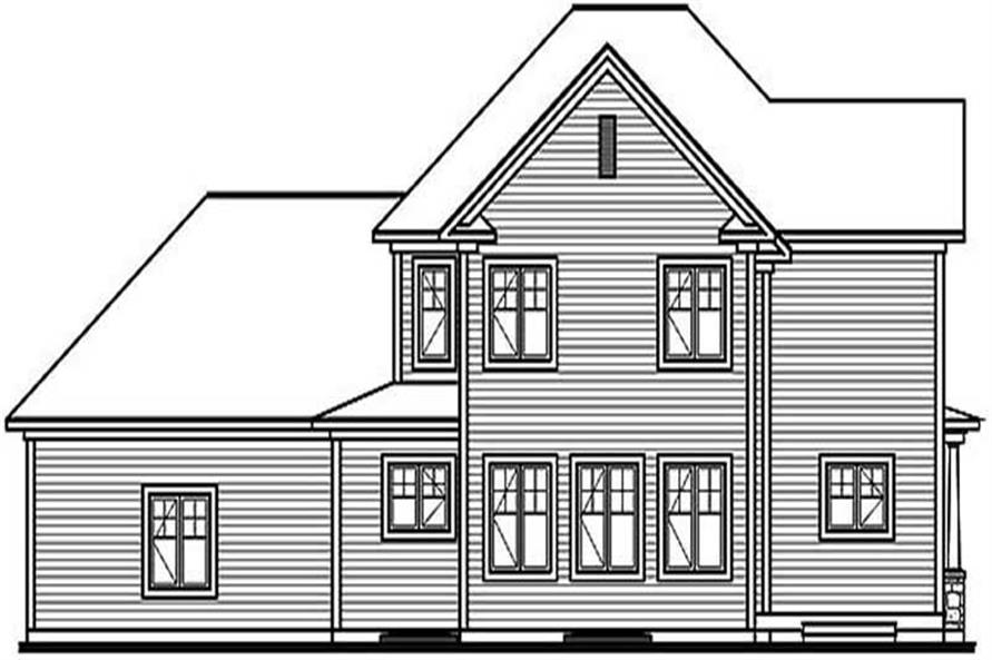 Home Plan Rear Elevation of this 4-Bedroom,2577 Sq Ft Plan -126-1415