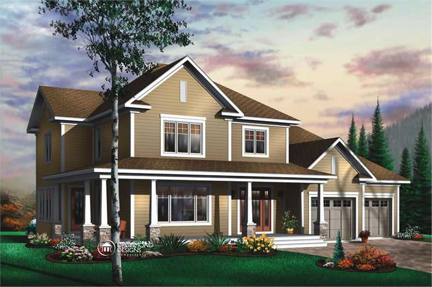 4-Bedroom, 2577 Sq Ft Contemporary Home Plan - 126-1415 - Main Exterior