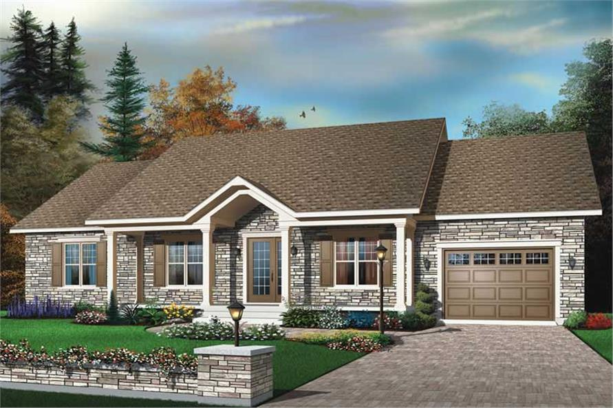 3-Bedroom, 1350 Sq Ft Ranch House Plan - 126-1416 - Front Exterior