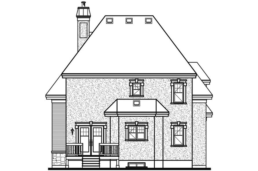 Home Plan Rear Elevation of this 3-Bedroom,1727 Sq Ft Plan -126-1421