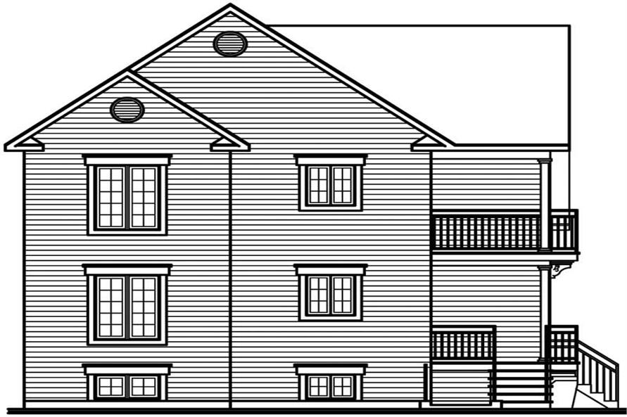 Home Plan Rear Elevation of this 2-Bedroom,2000 Sq Ft Plan -126-1426