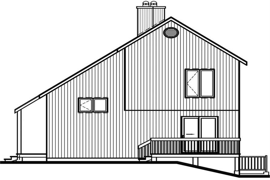 Home Plan Rear Elevation of this 2-Bedroom,1290 Sq Ft Plan -126-1428