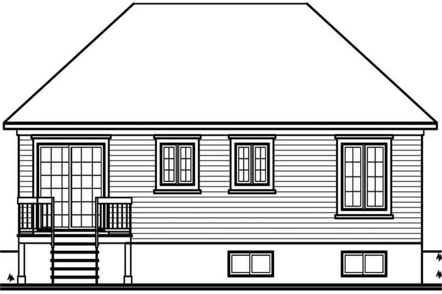 Home Plan Rear Elevation of this 2-Bedroom,958 Sq Ft Plan -126-1437