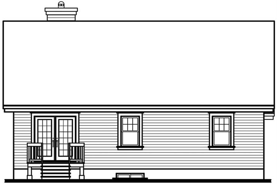 Home Plan Rear Elevation of this 3-Bedroom,1393 Sq Ft Plan -126-1439