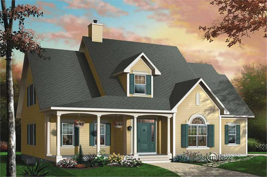 3-Bedroom, 2406 Sq Ft Country House Plan - 126-1441 - Front Exterior