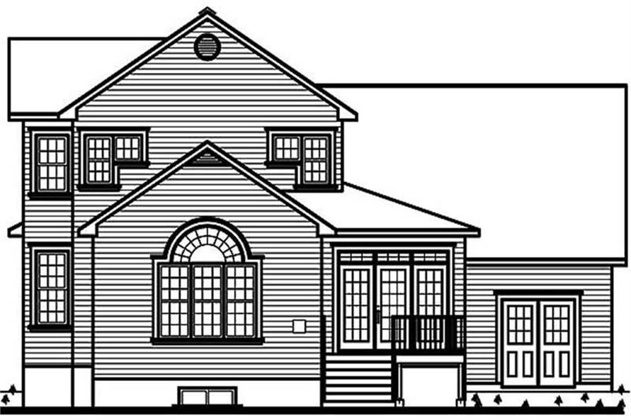 Home Plan Rear Elevation of this 3-Bedroom,2391 Sq Ft Plan -126-1442