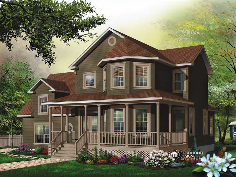 Contemporary country home with 3 bedrooms 2391 sq ft Contemporary country house plans