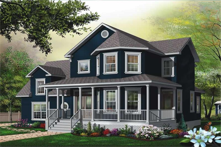 3-Bedroom, 2391 Sq Ft Contemporary House Plan - 126-1442 - Front Exterior