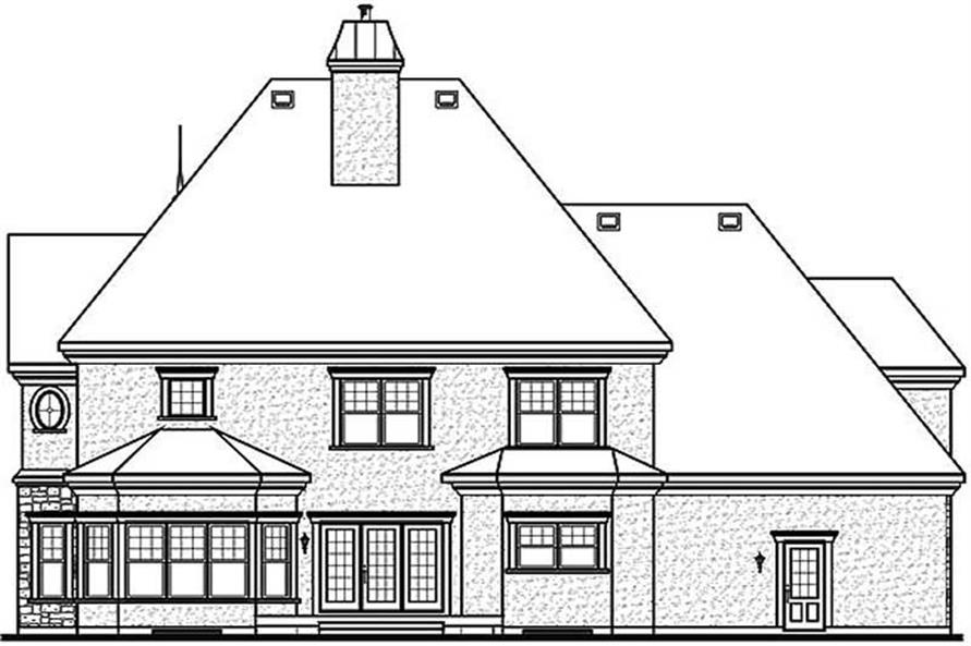 Home Plan Rear Elevation of this 4-Bedroom,3614 Sq Ft Plan -126-1443