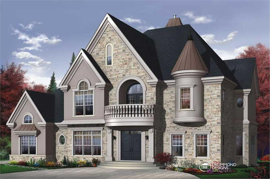 4-Bedroom, 3614 Sq Ft European House Plan - 126-1443 - Front Exterior