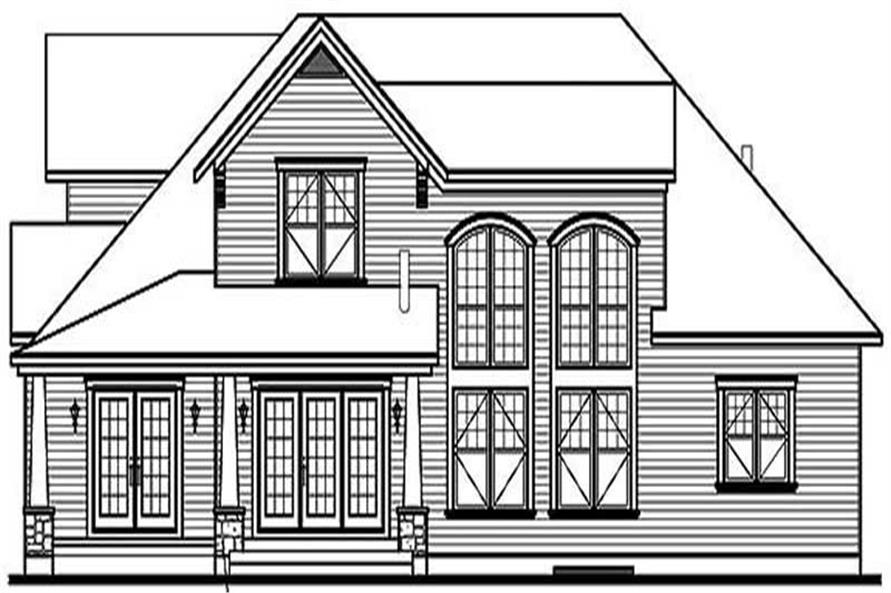 Home Plan Rear Elevation of this 4-Bedroom,3136 Sq Ft Plan -126-1454