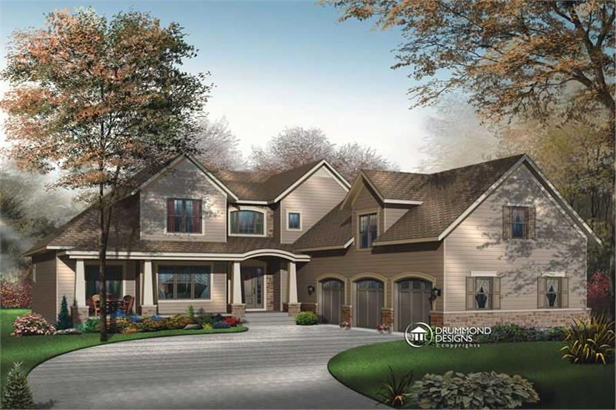 4-Bedroom, 3136 Sq Ft Contemporary House Plan - 126-1454 - Front Exterior