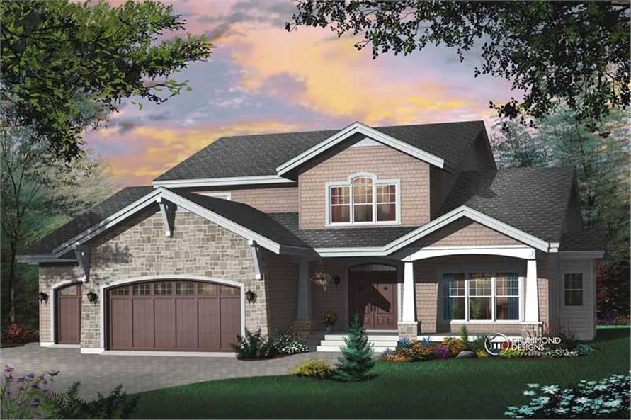 4-Bedroom, 3943 Sq Ft Contemporary House Plan - 126-1455 - Front Exterior