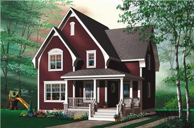 3-Bedroom, 1320 Sq Ft Country Home Plan - 126-1458 - Main Exterior