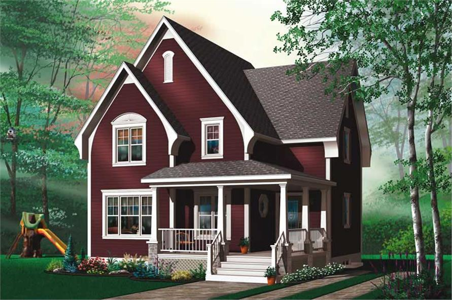 2-Bedroom, 1322 Sq Ft Country Home Plan - 126-1459 - Main Exterior
