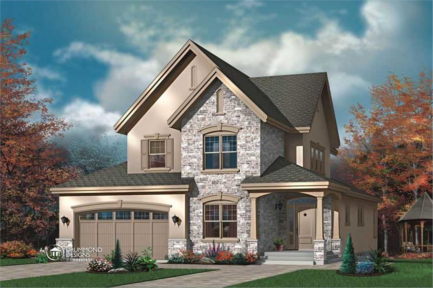 3-Bedroom, 2565 Sq Ft Contemporary House Plan - 126-1461 - Front Exterior